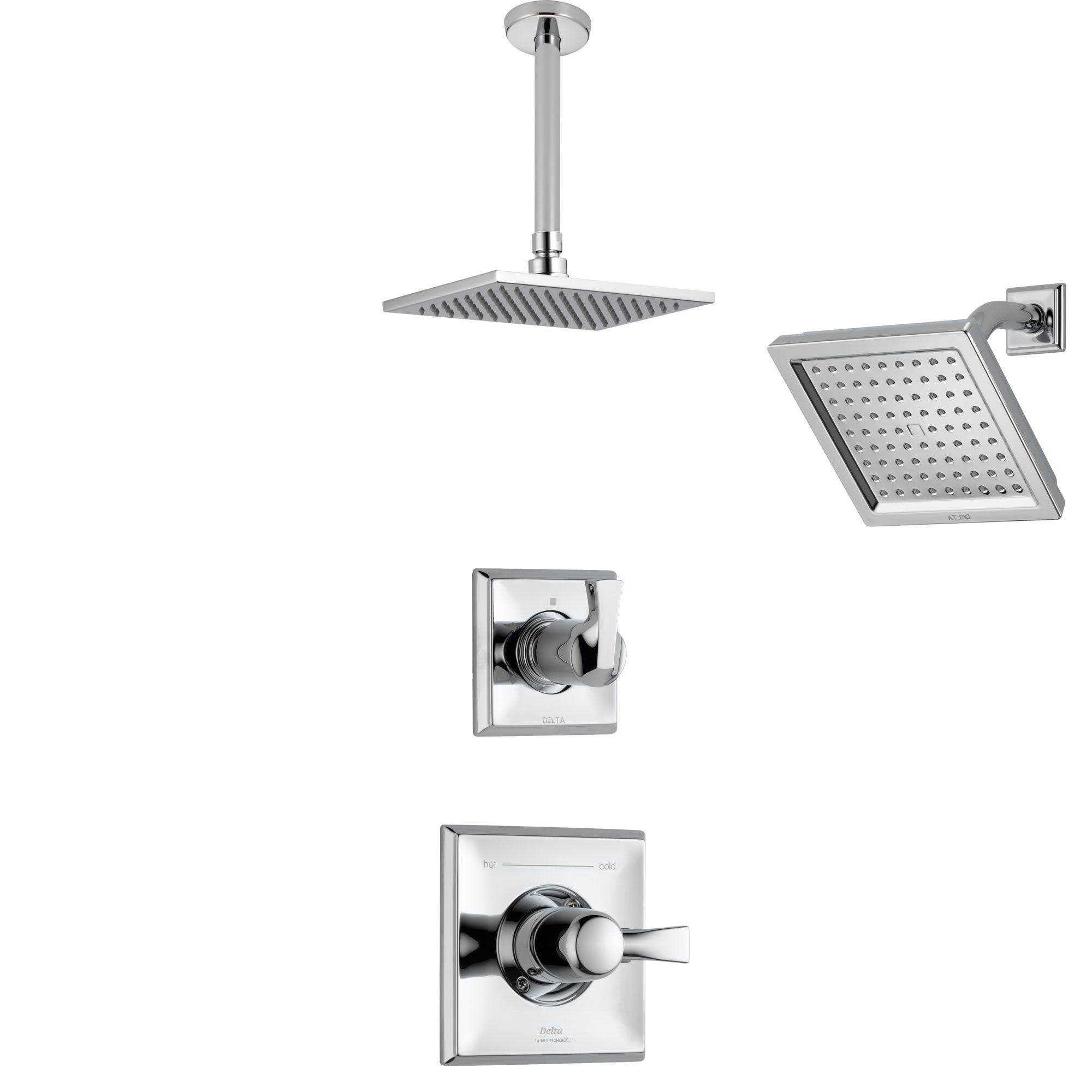 Delta Dryden Chrome Finish Shower System with Control Handle, 3-Setting Diverter, Showerhead, and Ceiling Mount Showerhead SS1425113