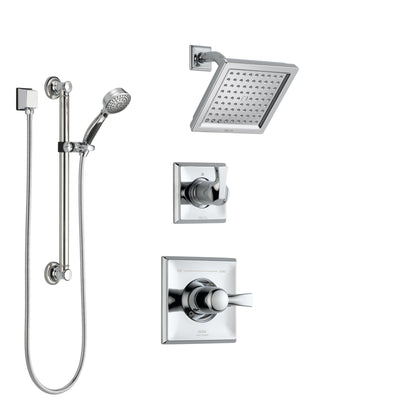 Delta Dryden Chrome Finish Shower System with Control Handle, 3-Setting Diverter, Showerhead, and Hand Shower with Grab Bar SS1425114