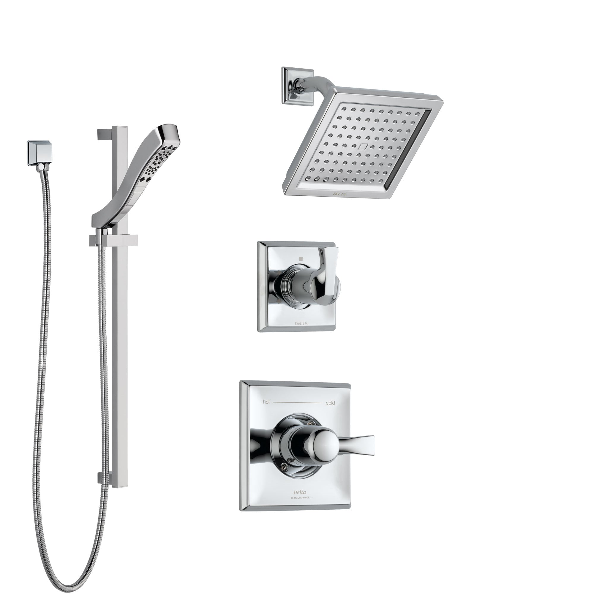 Delta Dryden Chrome Finish Shower System with Control Handle, 3-Setting Diverter, Showerhead, and Hand Shower with Slidebar SS1425115