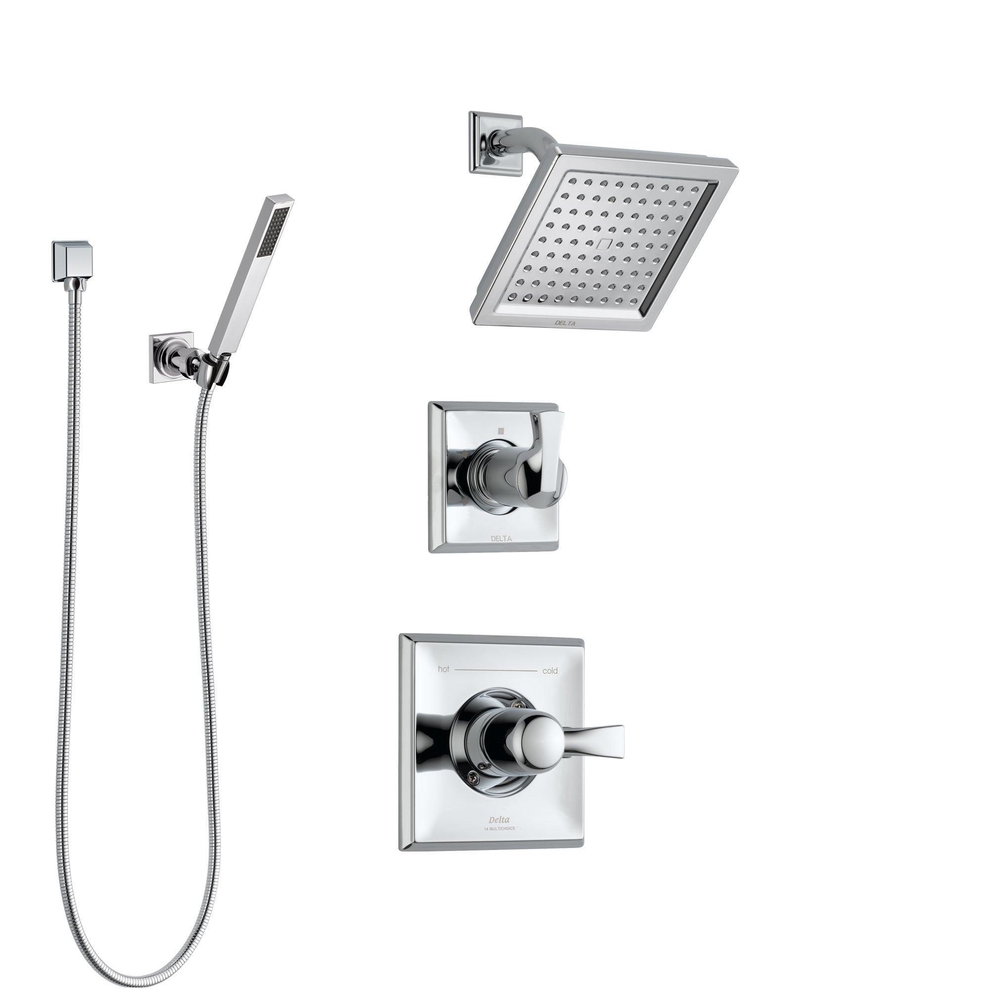 Delta Dryden Chrome Finish Shower System with Control Handle, 3-Setting Diverter, Showerhead, and Hand Shower with Wall Bracket SS1425116