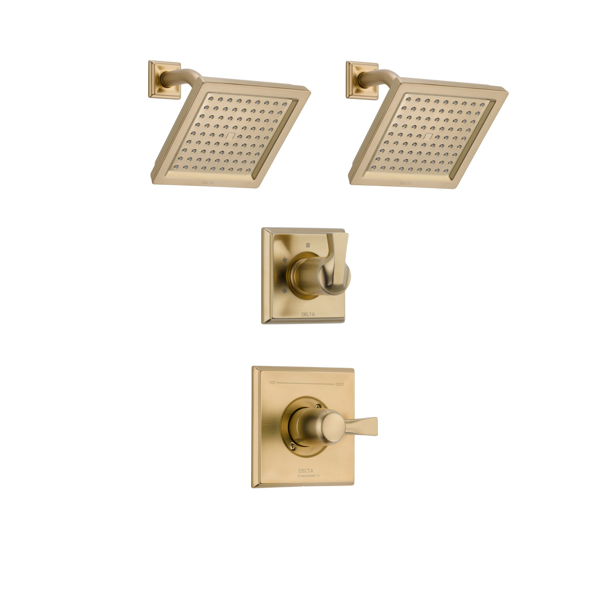Delta Dryden Champagne Bronze Finish Shower System with Control Handle, 3-Setting Diverter, 2 Showerheads SS142511CZ4