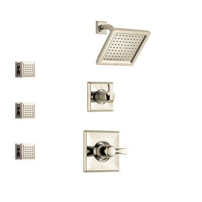 Delta Dryden Polished Nickel Finish Shower System with Control Handle, 3-Setting Diverter, Showerhead, and 3 Body Sprays SS142511PN1