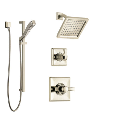Delta Dryden Polished Nickel Finish Shower System with Control Handle, 3-Setting Diverter, Showerhead, and Hand Shower with Slidebar SS142511PN3