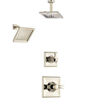 Delta Dryden Polished Nickel Finish Shower System with Control Handle, 3-Setting Diverter, Showerhead, and Ceiling Mount Showerhead SS142511PN4