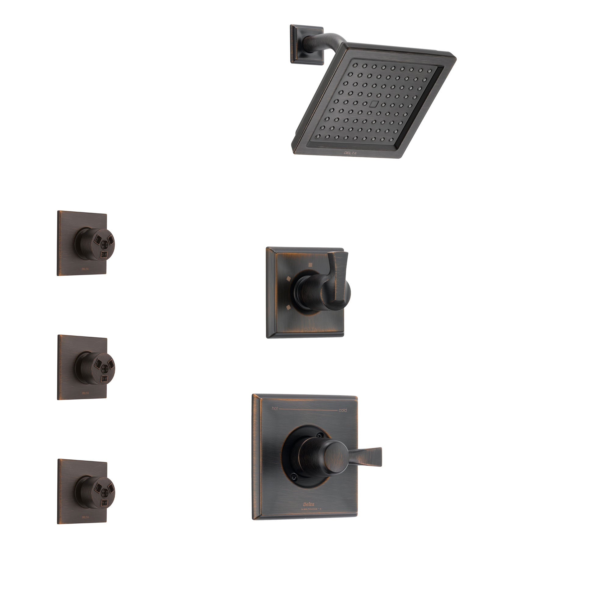Delta Dryden Venetian Bronze Finish Shower System with Control Handle, 3-Setting Diverter, Showerhead, and 3 Body Sprays SS142511RB1