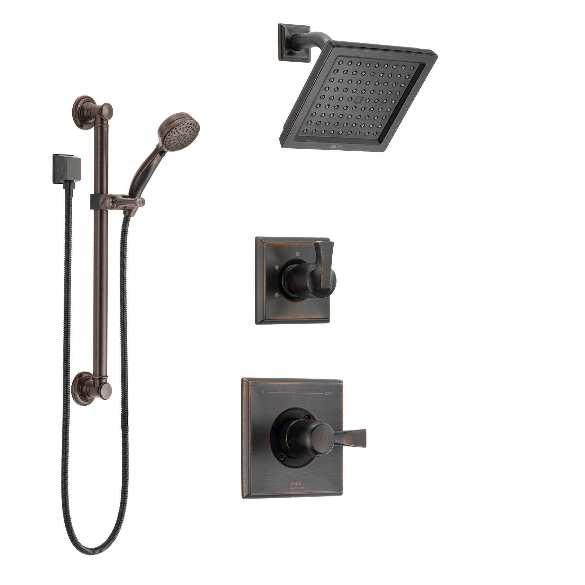 Delta Dryden Venetian Bronze Finish Shower System with Control Handle, 3-Setting Diverter, Showerhead, and Hand Shower with Grab Bar SS142511RB3