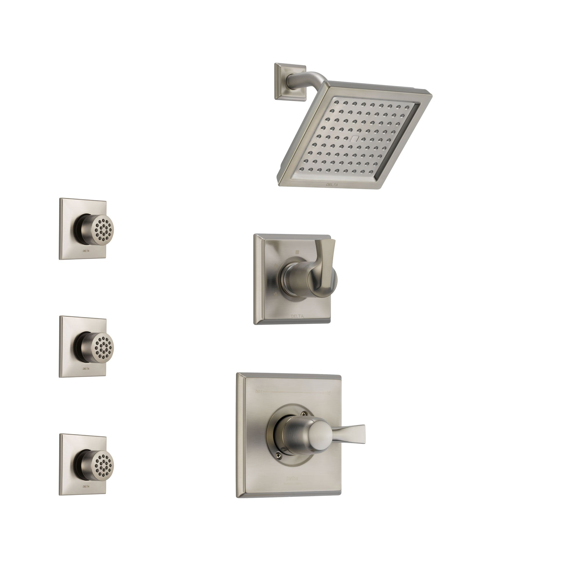 Delta Dryden Stainless Steel Finish Shower System with Control Handle, 3-Setting Diverter, Showerhead, and 3 Body Sprays SS142511SS1