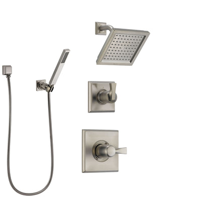 Delta Dryden Stainless Steel Finish Shower System with Control Handle, 3-Setting Diverter, Showerhead, and Hand Shower with Wall Bracket SS142511SS4
