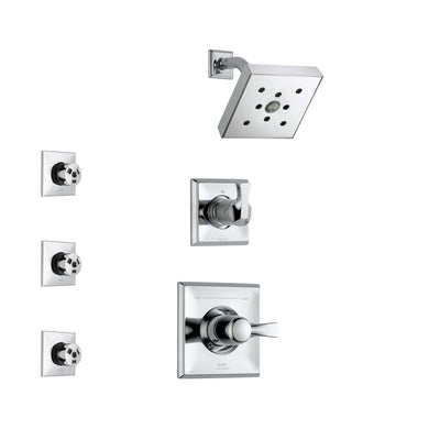 Delta Dryden Chrome Finish Shower System with Control Handle, 3-Setting Diverter, Showerhead, and 3 Body Sprays SS1425122