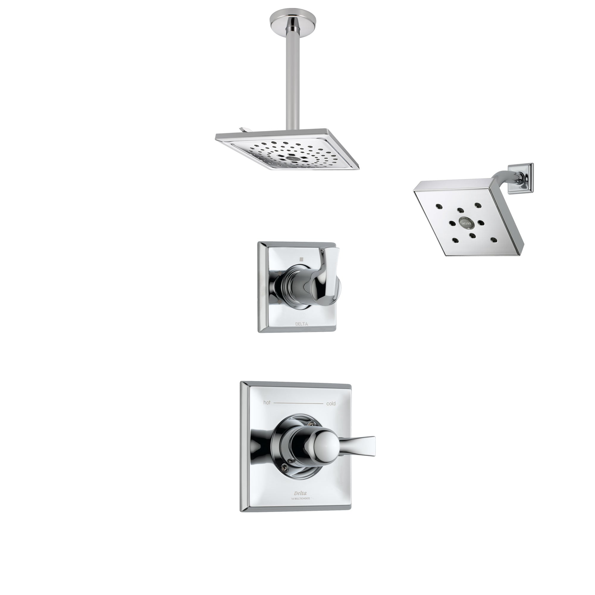 Delta Dryden Chrome Finish Shower System with Control Handle, 3-Setting Diverter, Showerhead, and Ceiling Mount Showerhead SS1425123