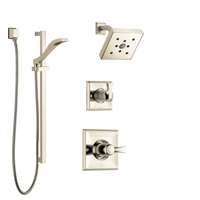 Delta Dryden Polished Nickel Finish Shower System with Control Handle, 3-Setting Diverter, Showerhead, and Hand Shower with Slidebar SS142512PN2