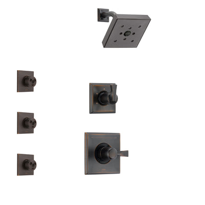 Delta Dryden Venetian Bronze Finish Shower System with Control Handle, 3-Setting Diverter, Showerhead, and 3 Body Sprays SS142512RB1