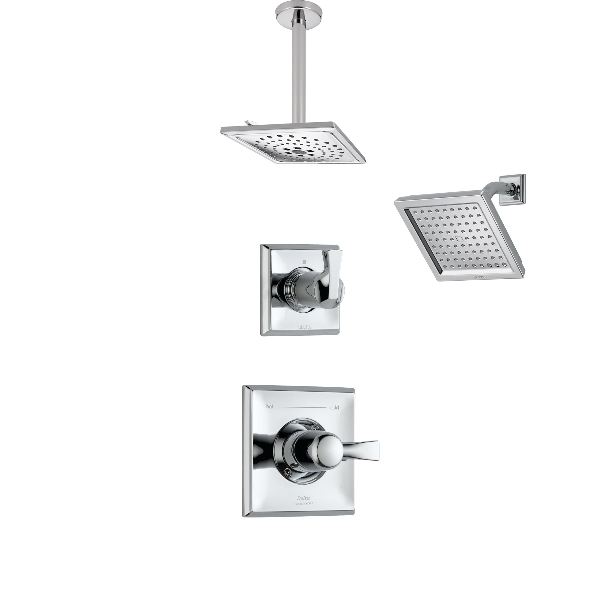 Delta Dryden Chrome Finish Shower System with Control Handle, 3-Setting Diverter, Showerhead, and Ceiling Mount Showerhead SS1425136
