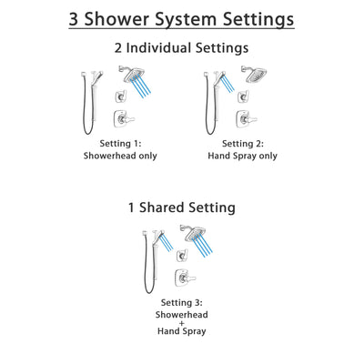 Delta Tesla Polished Nickel Finish Shower System with Control Handle, 3-Setting Diverter, Showerhead, and Hand Shower with Slidebar SS14252PN2