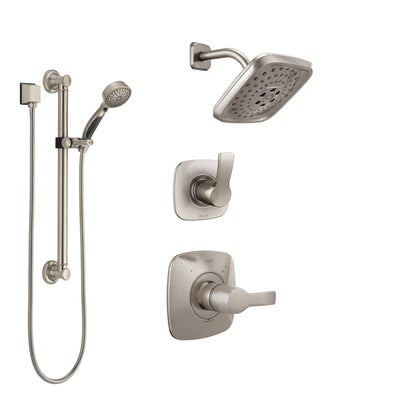 Delta Tesla Stainless Steel Finish Shower System with Control Handle, 3-Setting Diverter, Showerhead, and Hand Shower with Grab Bar SS14252SS3