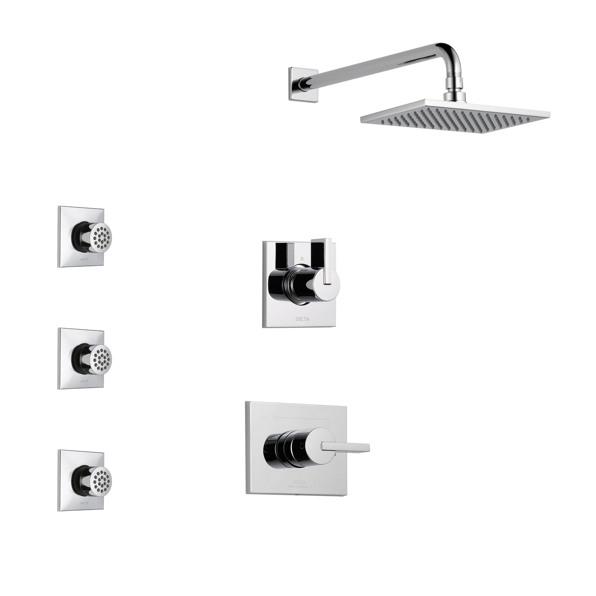 Delta Vero Chrome Finish Shower System with Control Handle, 3-Setting Diverter, Showerhead, and 3 Body Sprays SS1425311