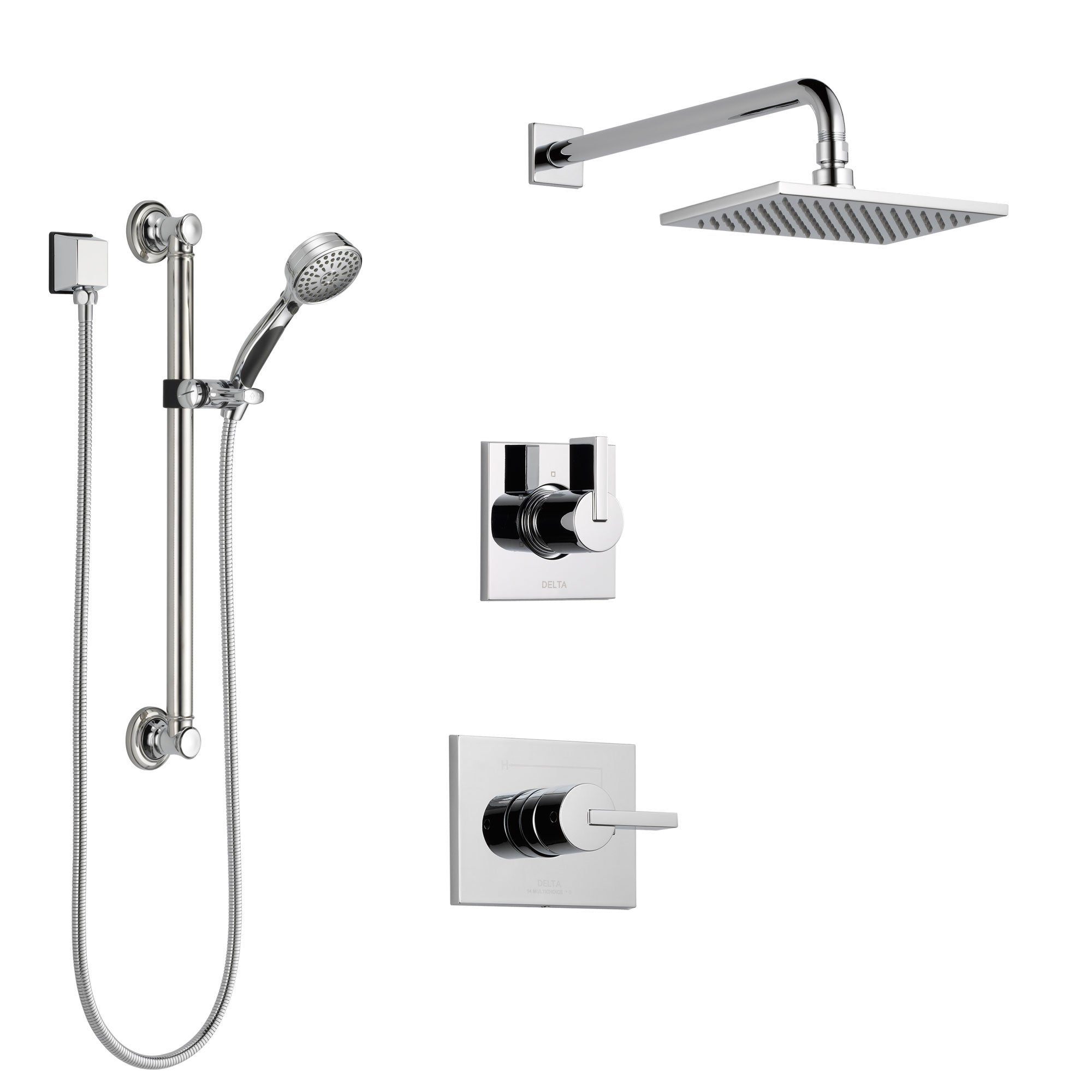 Delta Vero Chrome Finish Shower System with Control Handle, 3-Setting Diverter, Showerhead, and Hand Shower with Grab Bar SS1425313