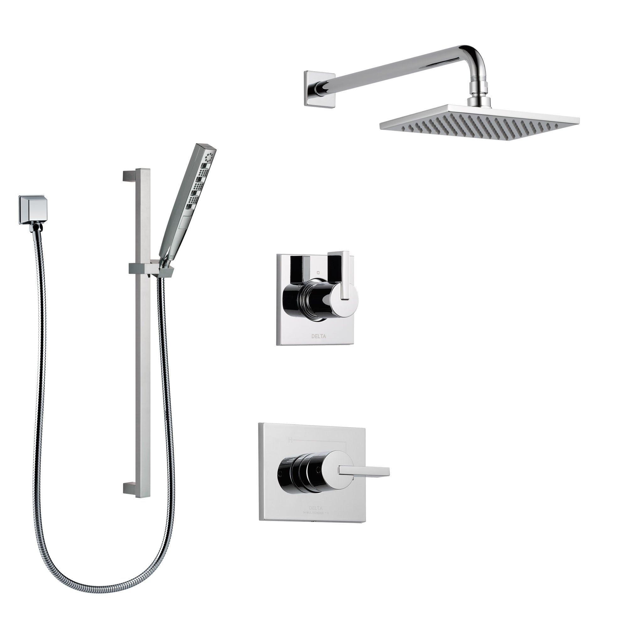 Delta Vero Chrome Finish Shower System with Control Handle, 3-Setting Diverter, Showerhead, and Hand Shower with Slidebar SS1425314