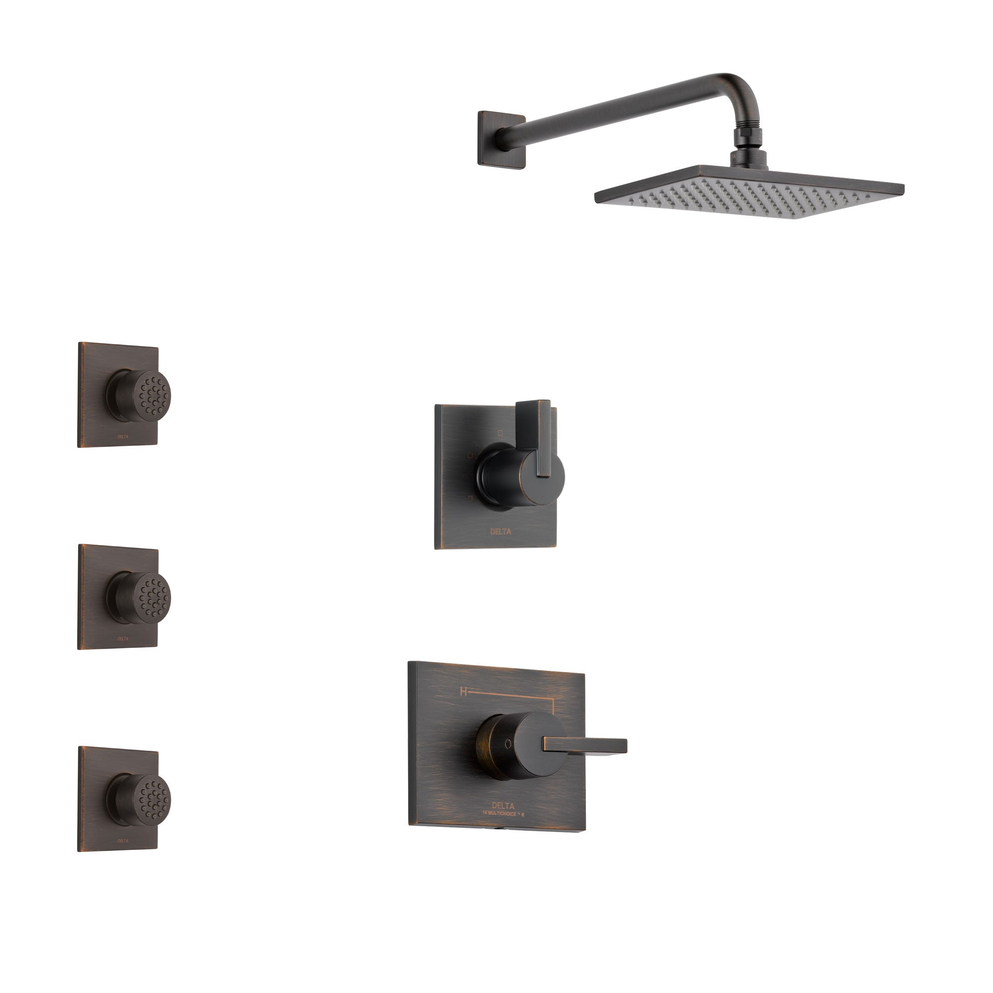 Delta Vero Venetian Bronze Finish Shower System with Control Handle, 3-Setting Diverter, Showerhead, and 3 Body Sprays SS142531RB1