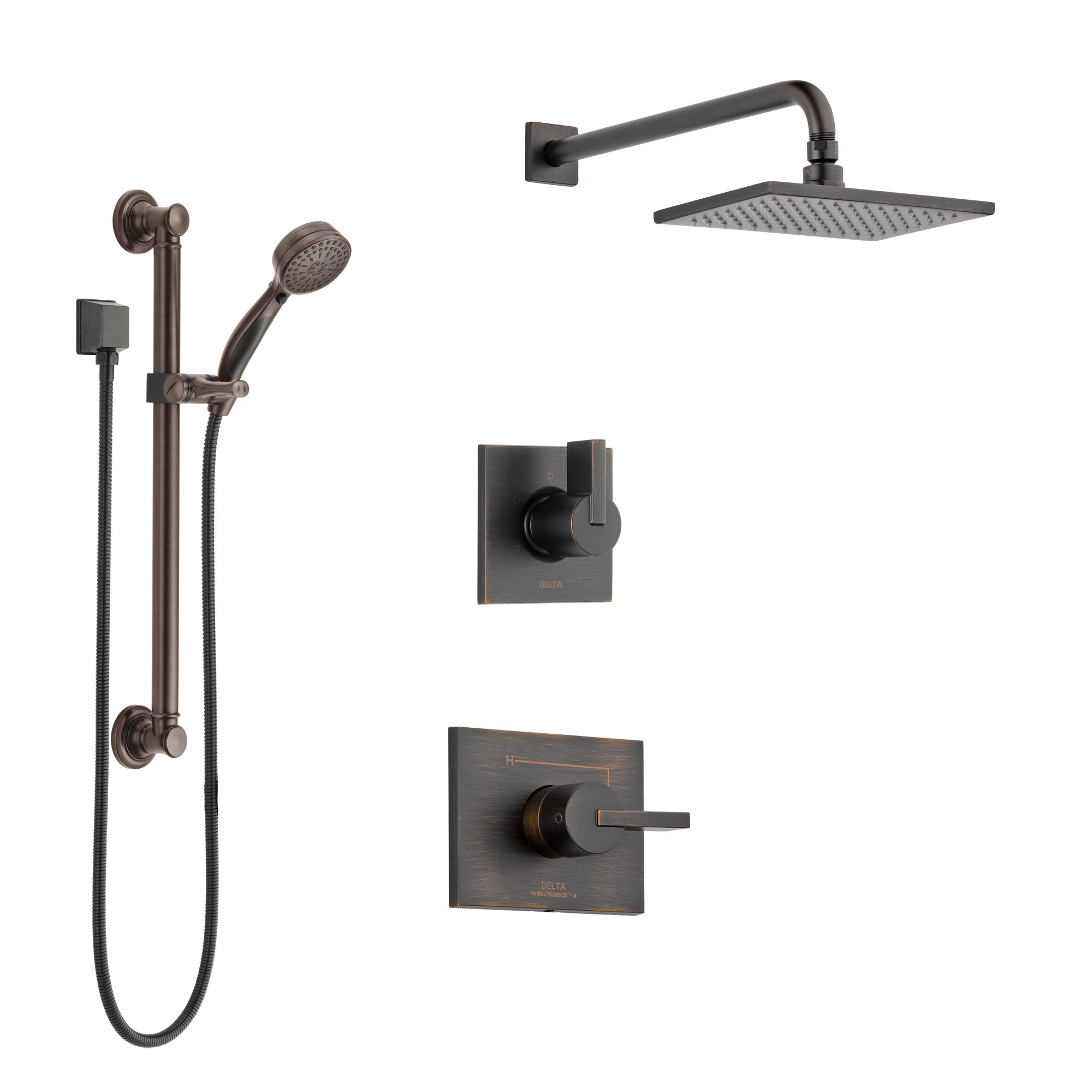 Delta Vero Venetian Bronze Finish Shower System with Control Handle, 3-Setting Diverter, Showerhead, and Hand Shower with Grab Bar SS142531RB3