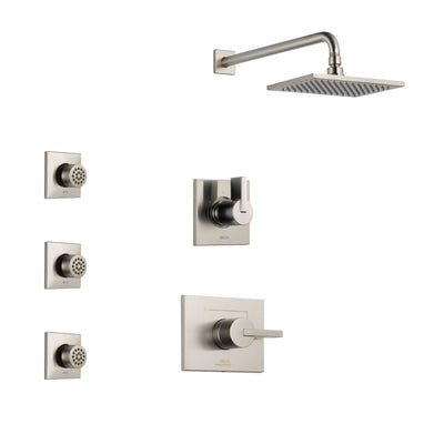 Delta Vero Stainless Steel Finish Shower System with Control Handle, 3-Setting Diverter, Showerhead, and 3 Body Sprays SS142531SS2