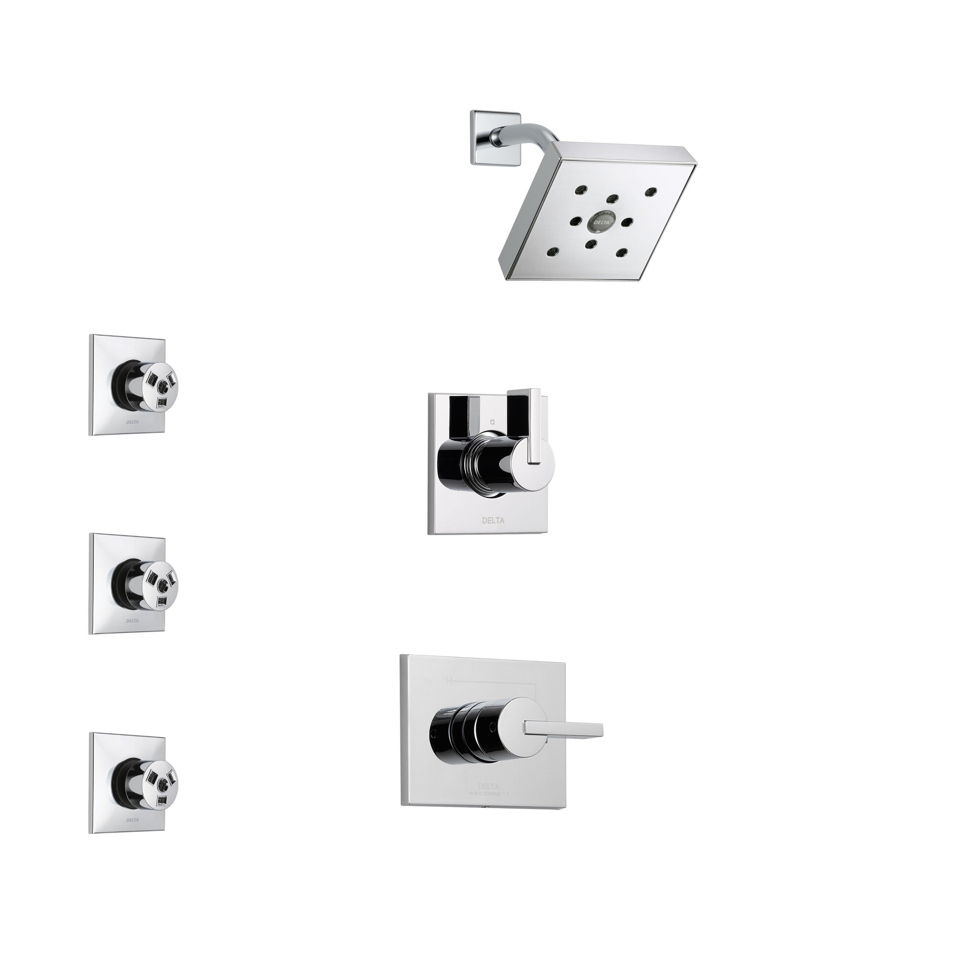 Delta Vero Chrome Finish Shower System with Control Handle, 3-Setting Diverter, Showerhead, and 3 Body Sprays SS1425322