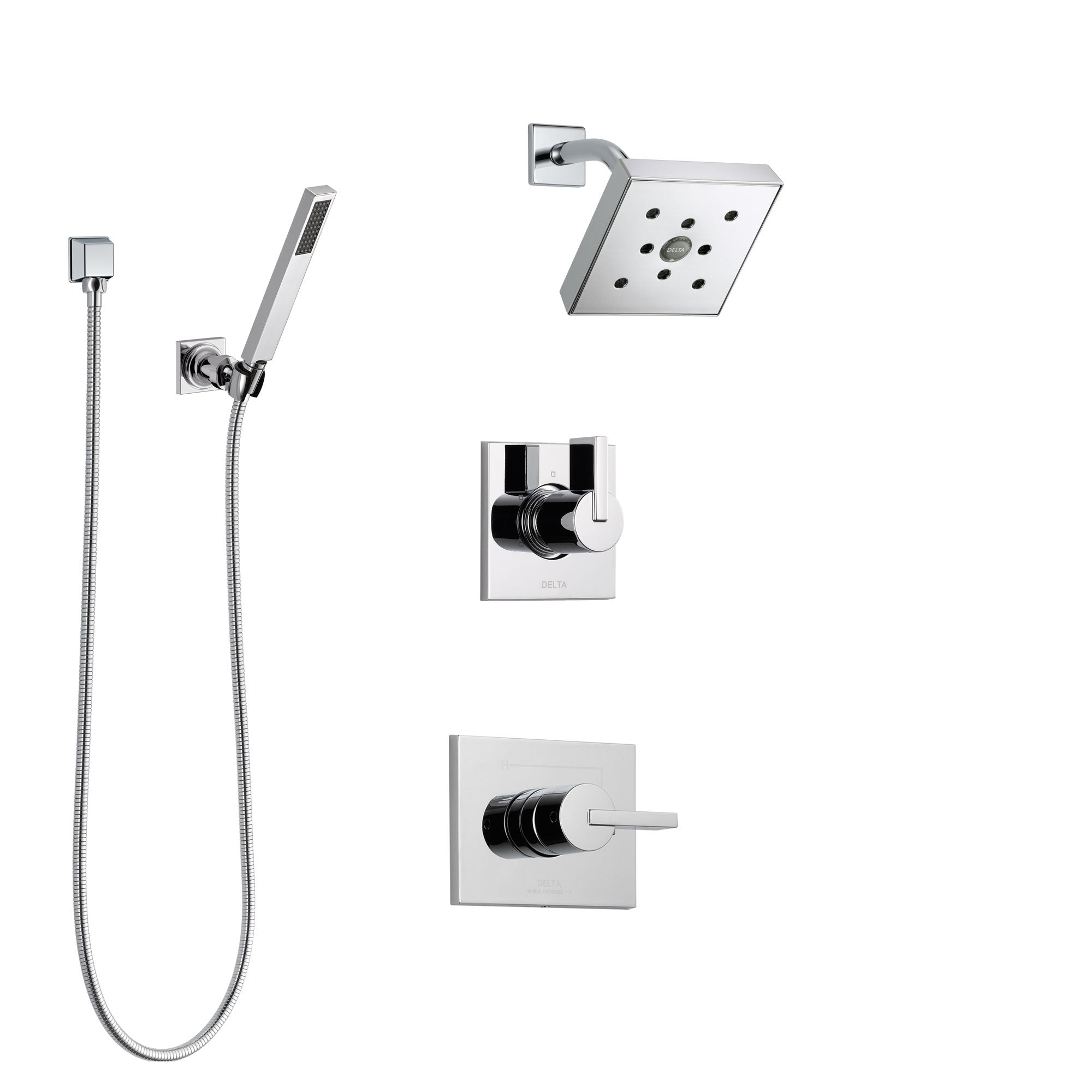 Delta Vero Chrome Finish Shower System with Control Handle, 3-Setting Diverter, Showerhead, and Hand Shower with Wall Bracket SS1425324