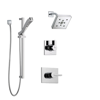Delta Vero Chrome Finish Shower System with Control Handle, 3-Setting Diverter, Showerhead, and Hand Shower with Slidebar SS1425325