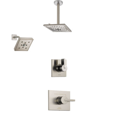 Delta Vero Stainless Steel Finish Shower System with Control Handle, 3-Setting Diverter, Showerhead, and Ceiling Mount Showerhead SS142532SS3