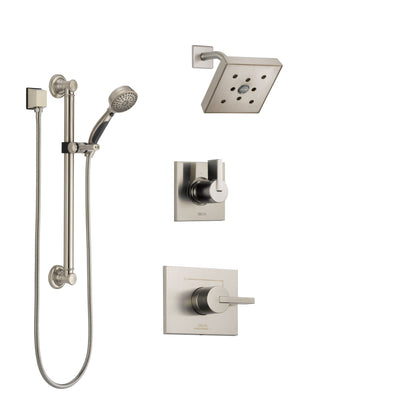 Delta Vero Stainless Steel Finish Shower System with Control Handle, 3-Setting Diverter, Showerhead, and Hand Shower with Grab Bar SS142532SS4