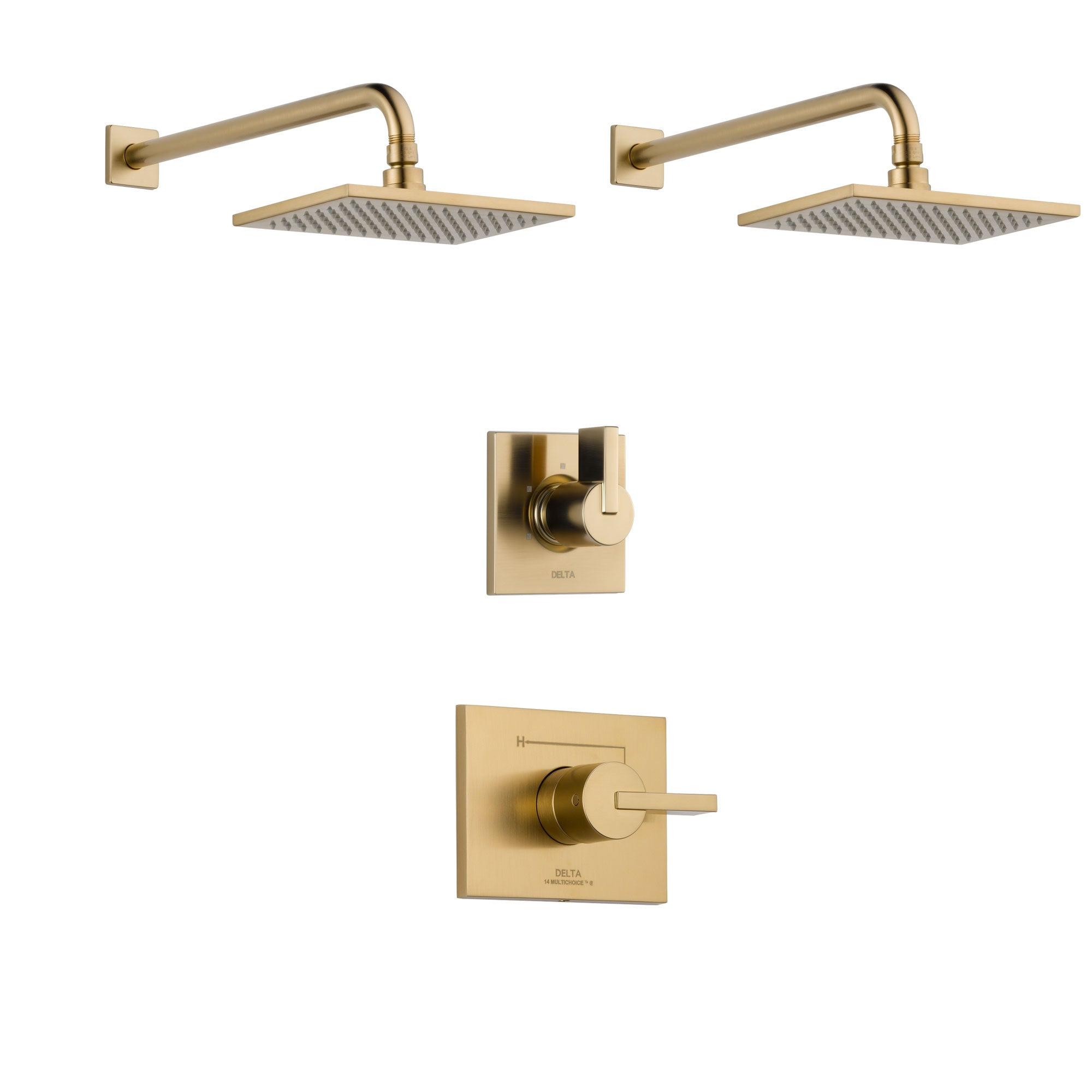 Delta Vero Champagne Bronze Finish Shower System with Control Handle, 3-Setting Diverter, 2 Showerheads SS14253CZ4