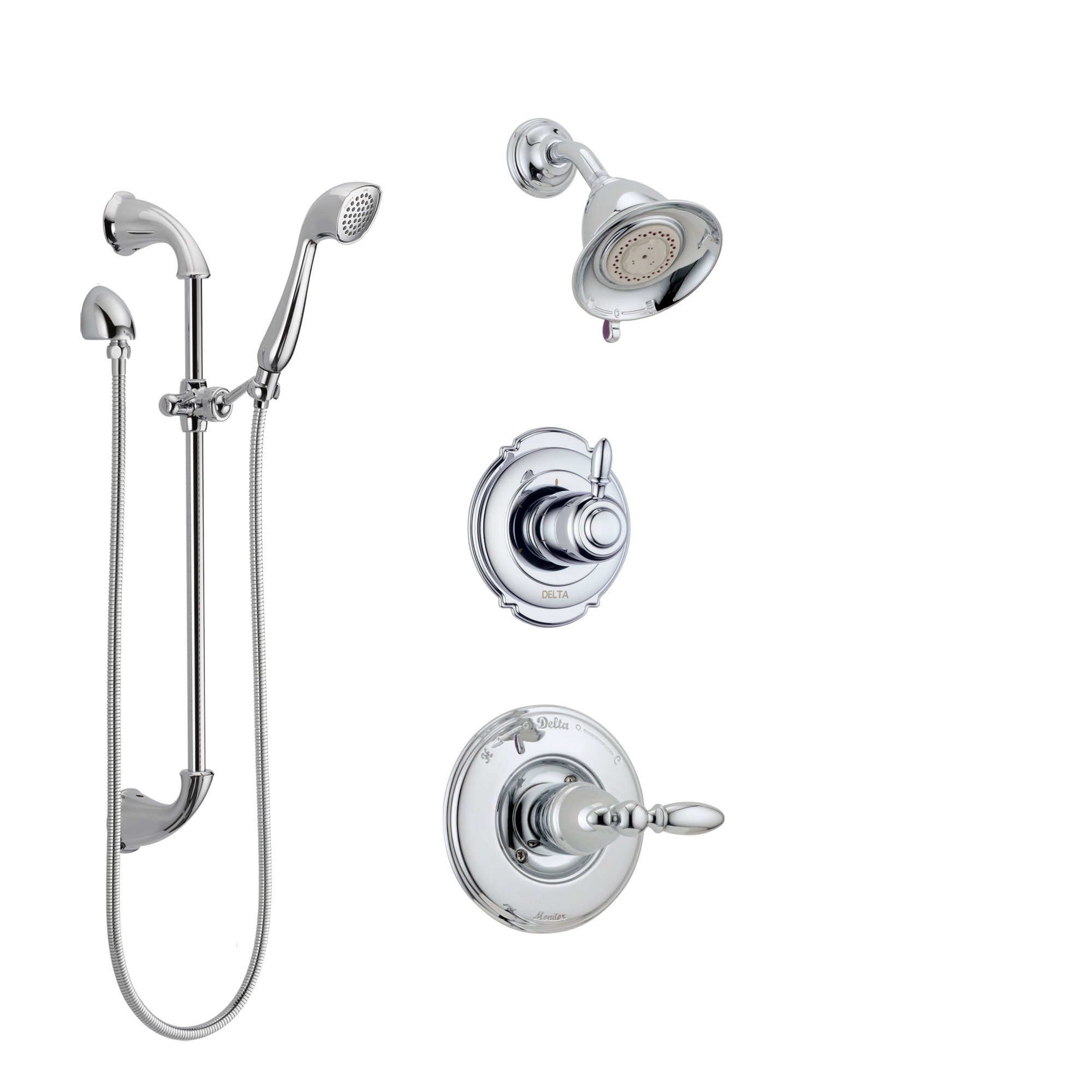 Delta Victorian Chrome Finish Shower System with Control Handle, 3-Setting Diverter, Showerhead, and Hand Shower with Slidebar SS142554
