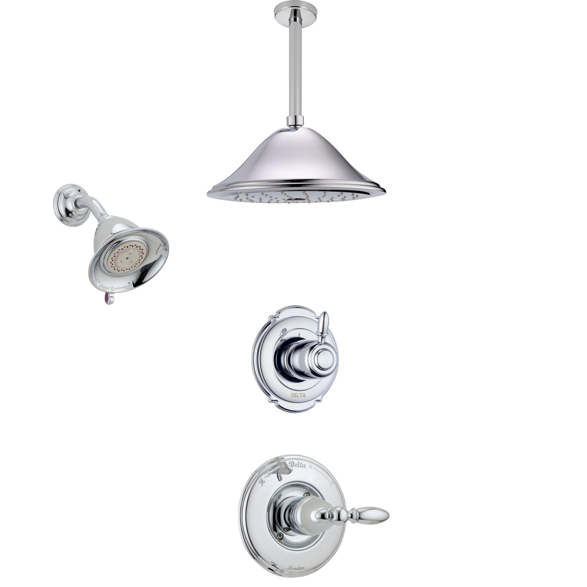 Delta Victorian Chrome Finish Shower System with Control Handle, 3-Setting Diverter, Showerhead, and Ceiling Mount Showerhead SS142555