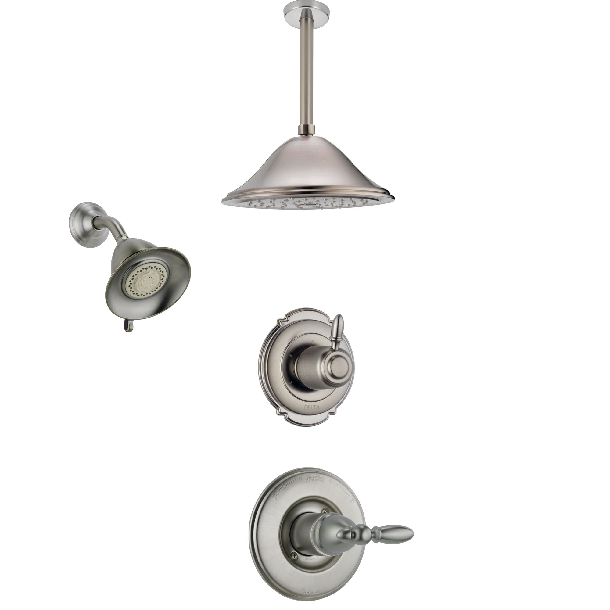 Delta Victorian Stainless Steel Finish Shower System with Control Handle, 3-Setting Diverter, Showerhead, and Ceiling Mount Showerhead SS14255SS5