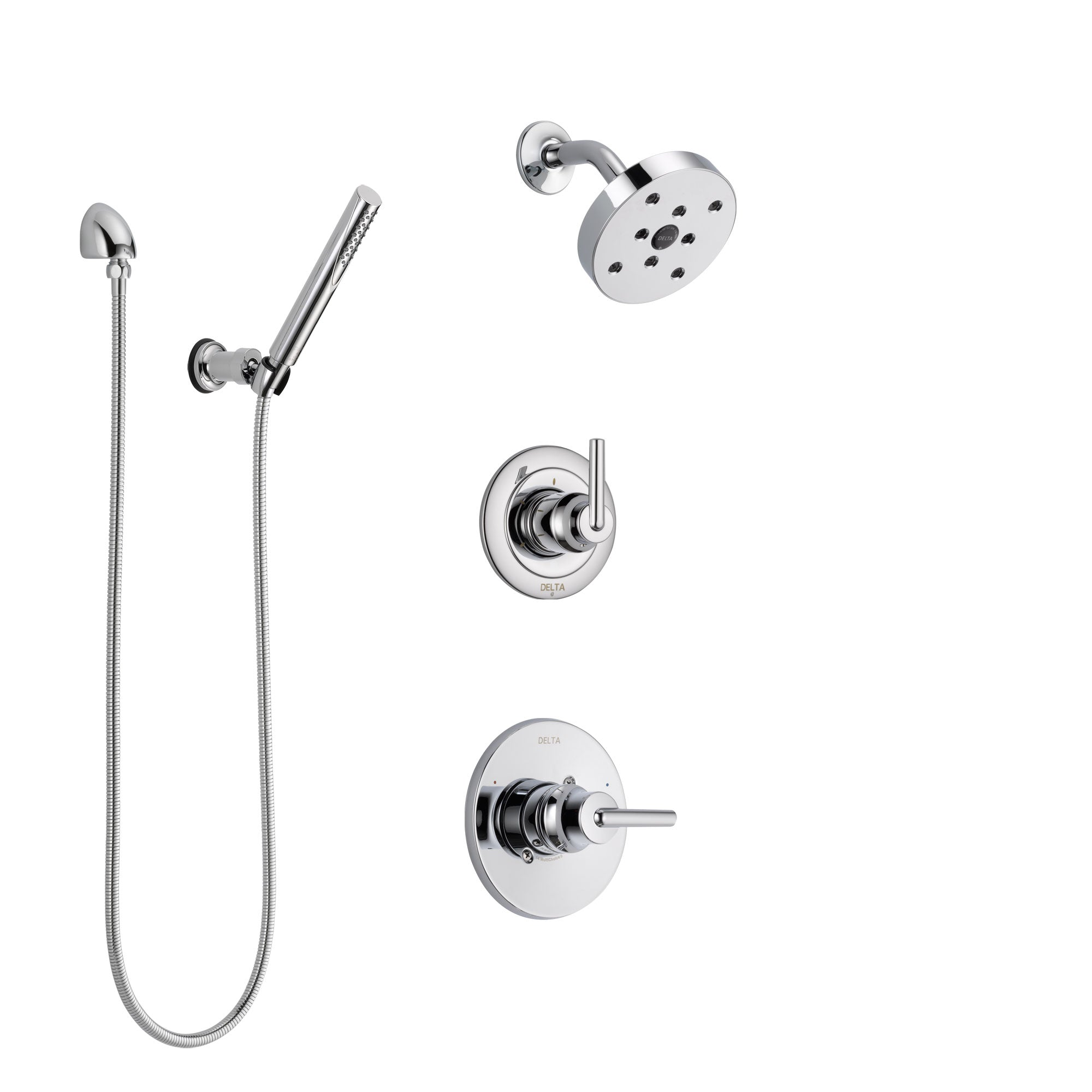 Delta Trinsic Chrome Finish Shower System with Control Handle, 3-Setting Diverter, Showerhead, and Hand Shower with Wall Bracket SS1425916