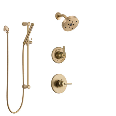 Delta Trinsic Champagne Bronze Finish Shower System with Control Handle, 3-Setting Diverter, Showerhead, and Hand Shower with Slidebar SS14259CZ2