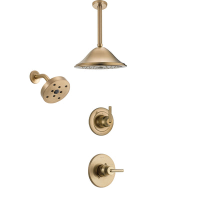Delta Trinsic Champagne Bronze Finish Shower System with Control Handle, 3-Setting Diverter, Showerhead, and Ceiling Mount Showerhead SS14259CZ4