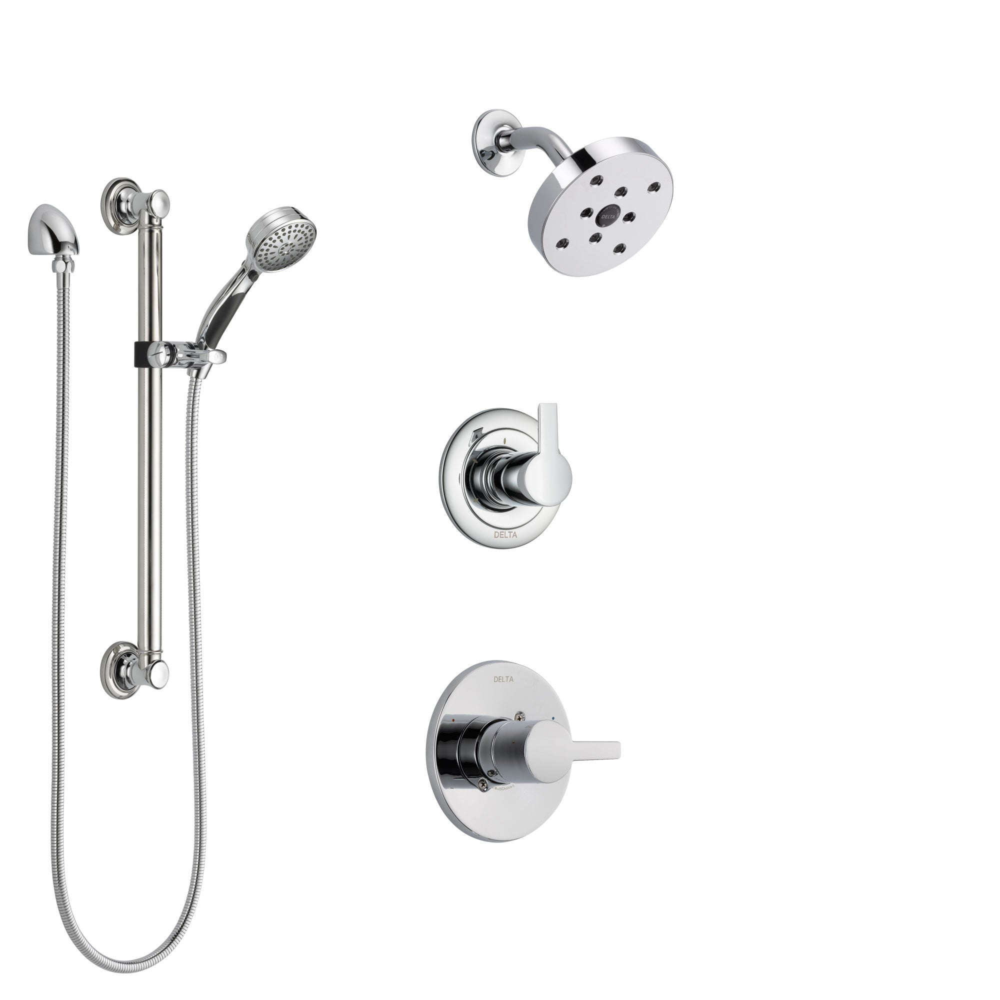 Delta Compel Chrome Finish Shower System with Control Handle, 3-Setting Diverter, Showerhead, and Hand Shower with Grab Bar SS1426113