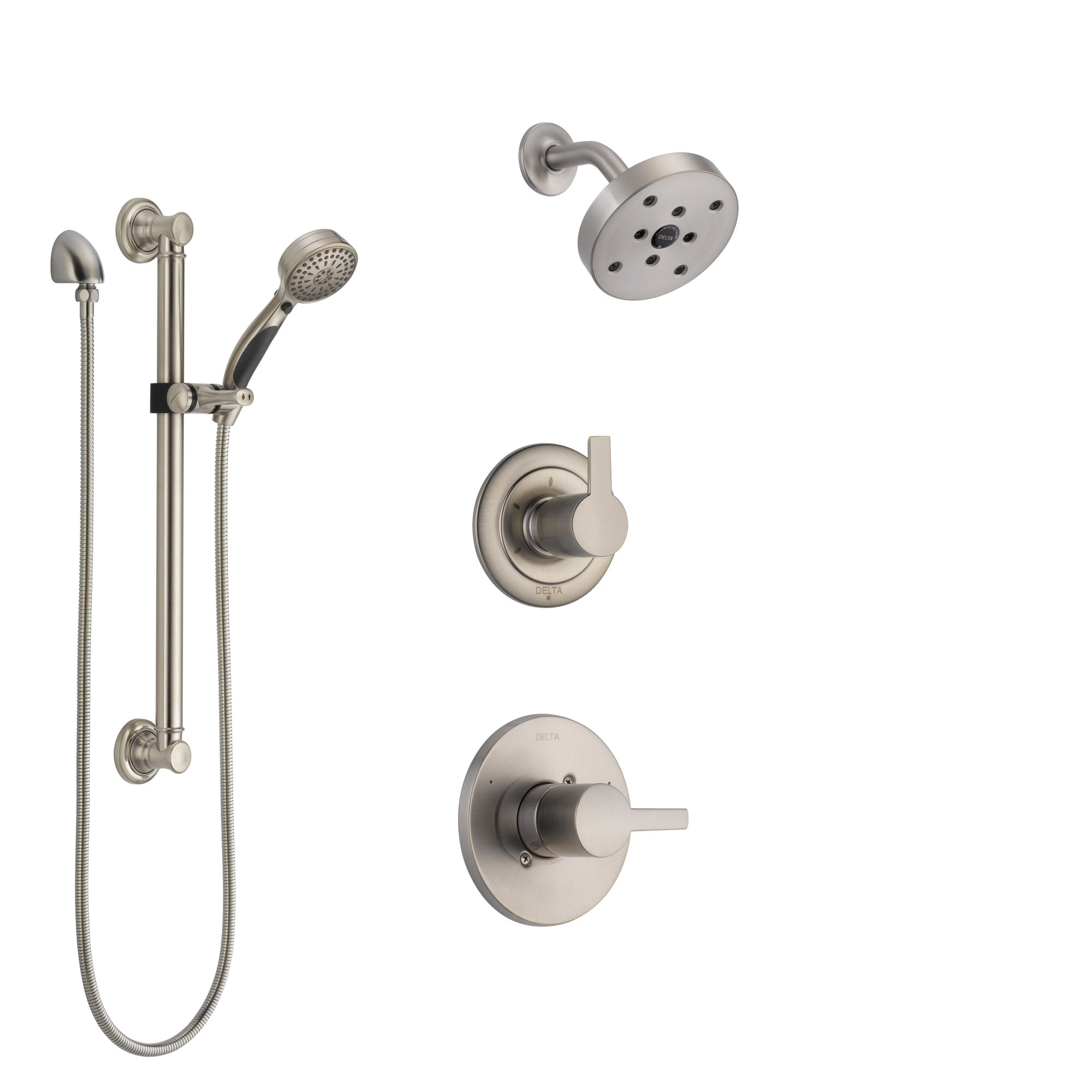 Delta Compel Stainless Steel Finish Shower System with Control Handle, 3-Setting Diverter, Showerhead, and Hand Shower with Grab Bar SS142611SS3