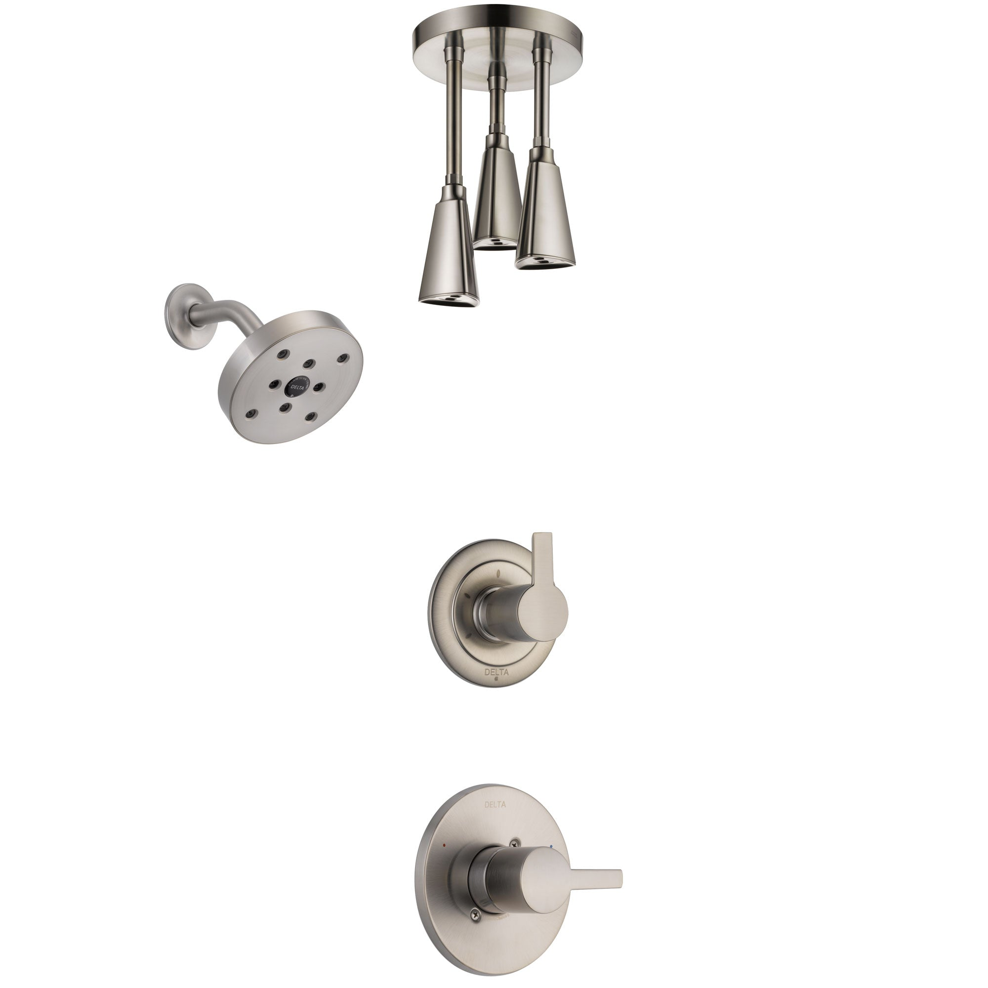 Delta Compel Stainless Steel Finish Shower System with Control Handle, 3-Setting Diverter, Showerhead, and Ceiling Mount Showerhead SS142611SS6