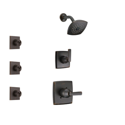 Delta Ashlyn Venetian Bronze Finish Shower System with Control Handle, 3-Setting Diverter, Showerhead, and 3 Body Sprays SS142641RB1