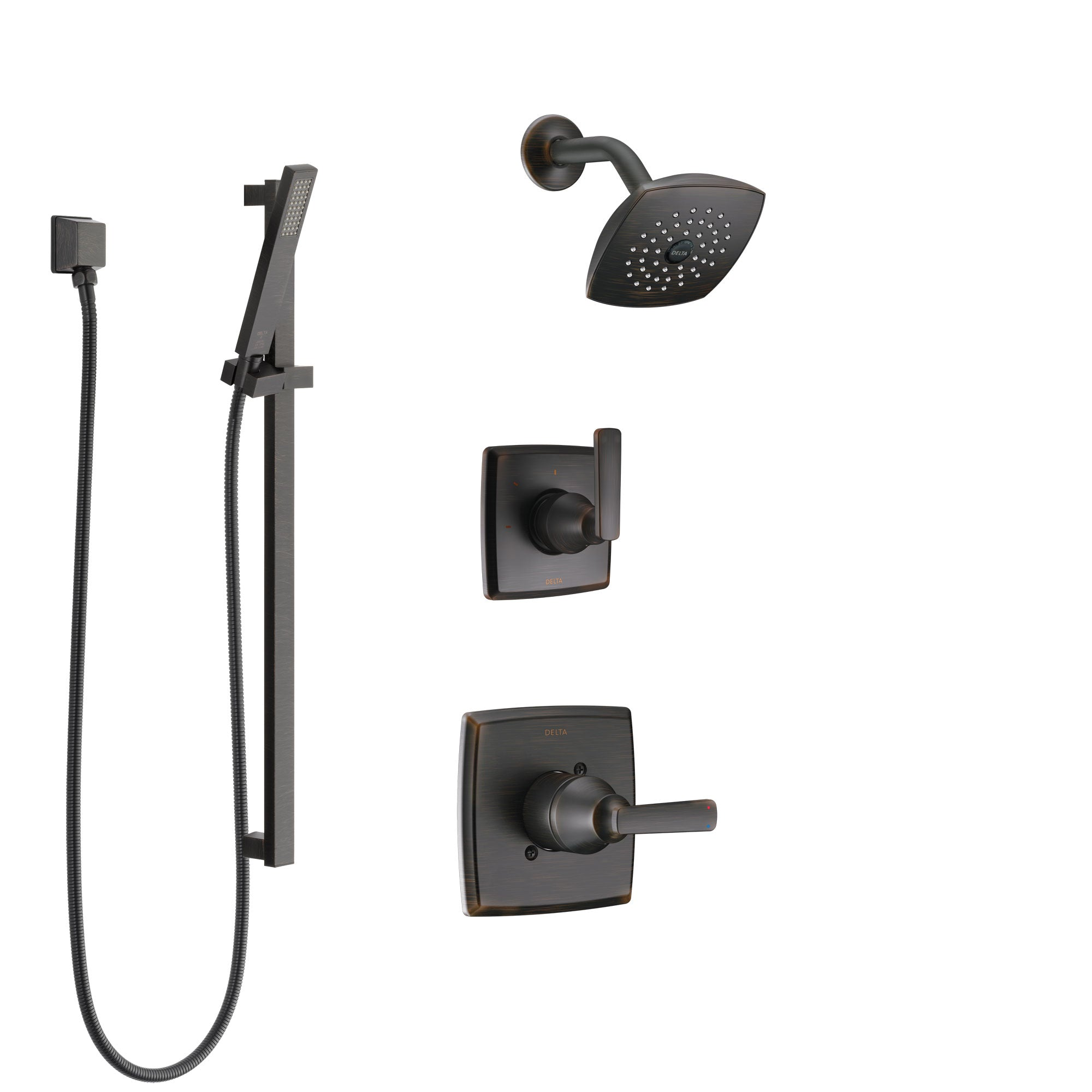 Delta Ashlyn Venetian Bronze Finish Shower System with Control Handle, 3-Setting Diverter, Showerhead, and Hand Shower with Slidebar SS142641RB4