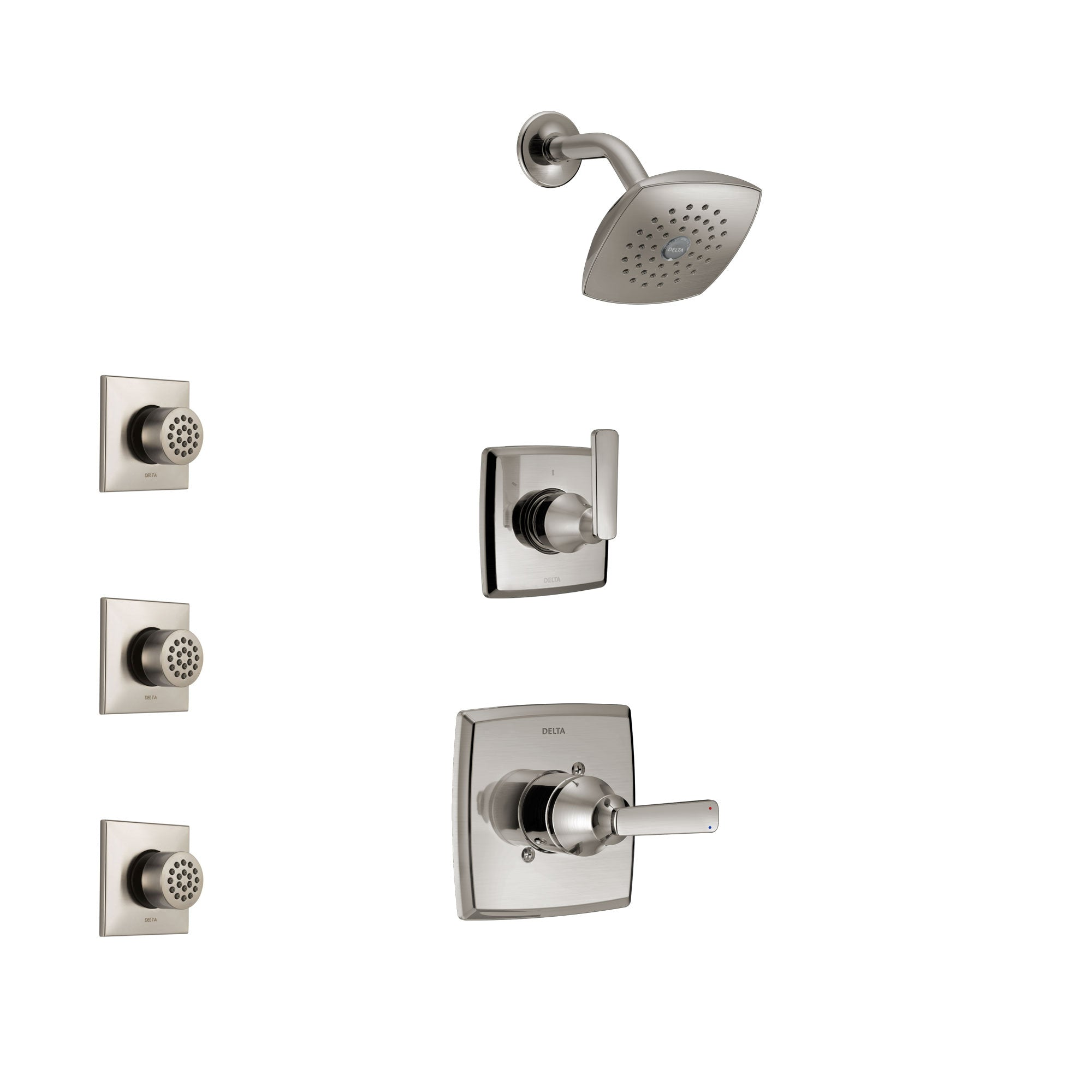 Delta Ashlyn Stainless Steel Finish Shower System with Control Handle, 3-Setting Diverter, Showerhead, and 3 Body Sprays SS142641SS2