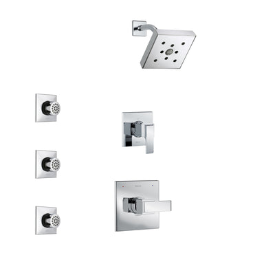 Delta Ara Chrome Finish Shower System with Control Handle, 3-Setting Diverter, Showerhead, and 3 Body Sprays SS1426711