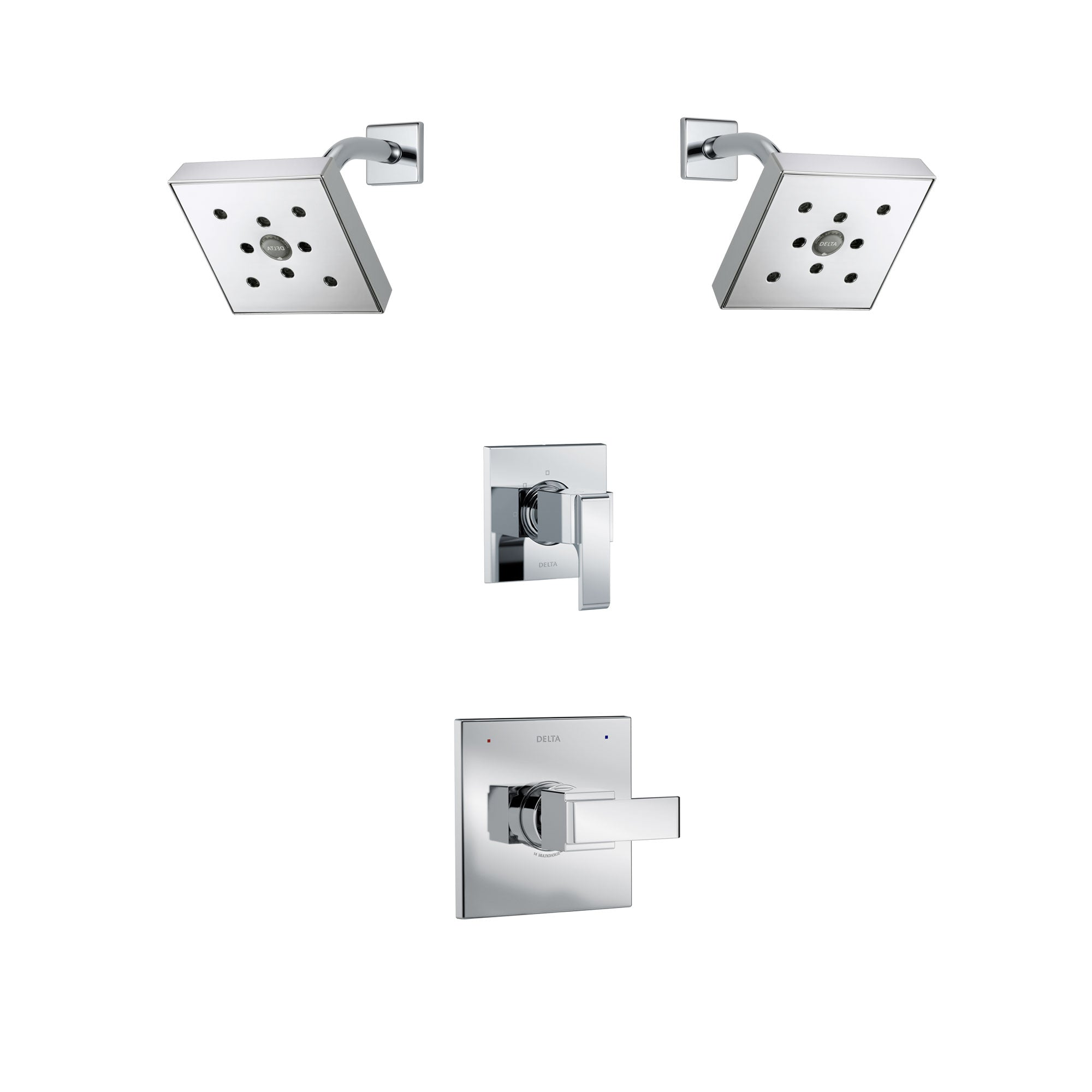 Delta Ara Chrome Finish Shower System with Control Handle, 3-Setting Diverter, 2 Showerheads SS1426716