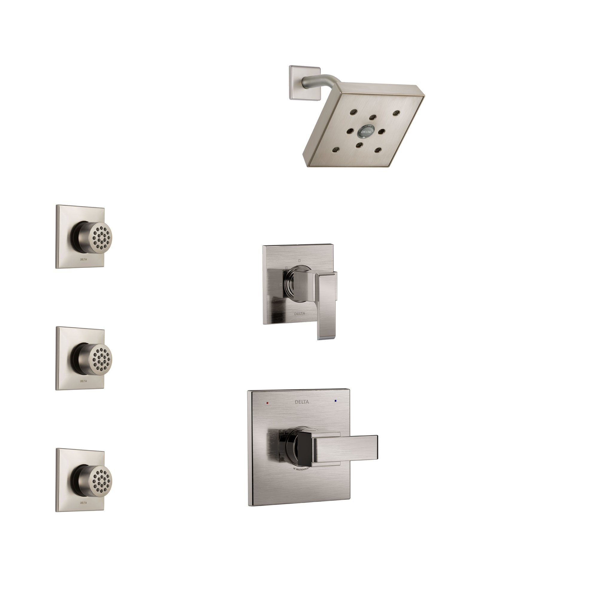 Delta Ara Stainless Steel Finish Shower System with Control Handle, 3-Setting Diverter, Showerhead, and 3 Body Sprays SS142671SS2