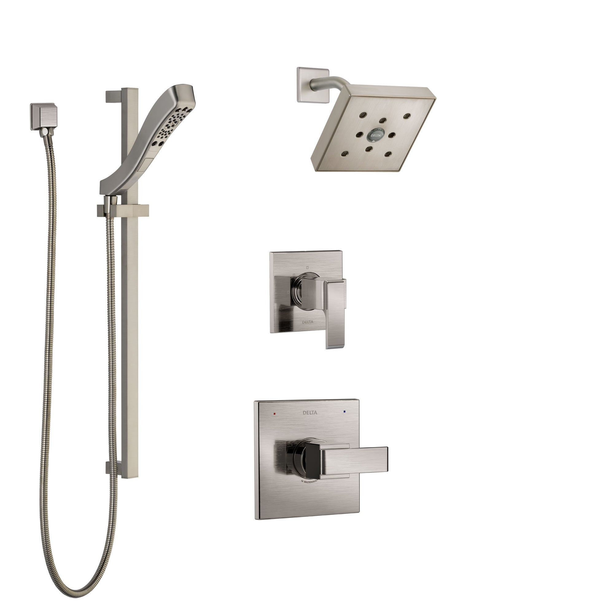 Delta Ara Stainless Steel Finish Shower System with Control Handle, 3-Setting Diverter, Showerhead, and Hand Shower with Slidebar SS142671SS4