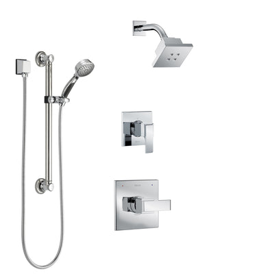 Delta Ara Chrome Finish Shower System with Control Handle, 3-Setting Diverter, Showerhead, and Hand Shower with Grab Bar SS1426722