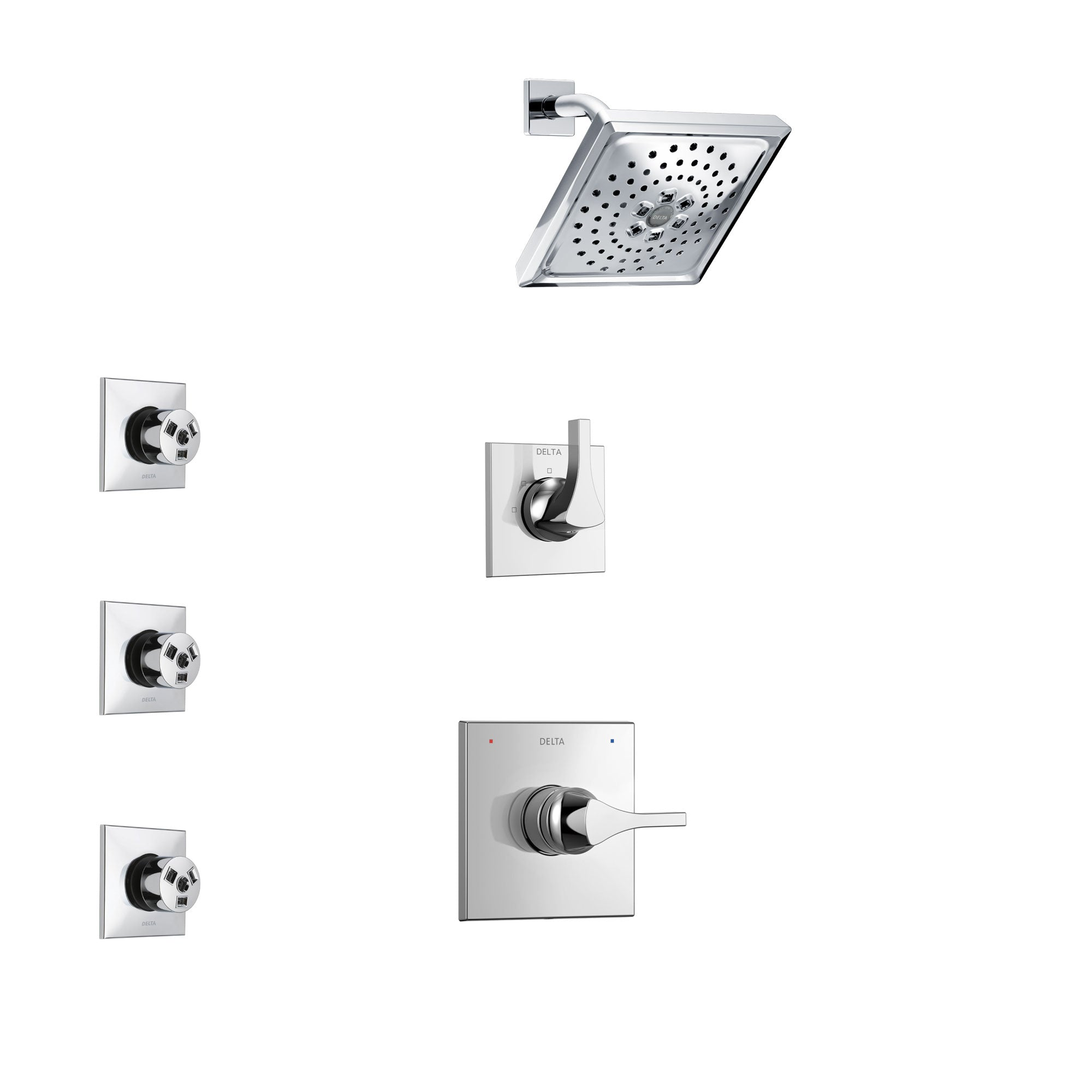 Delta Zura Chrome Finish Shower System with Control Handle, 3-Setting Diverter, Showerhead, and 3 Body Sprays SS142742