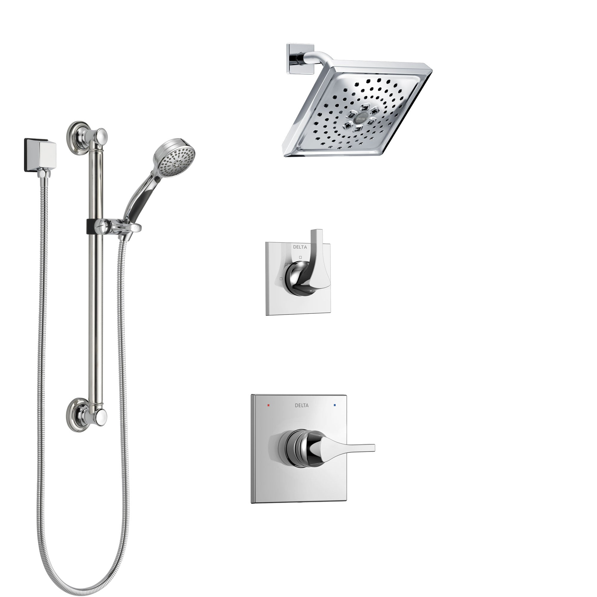 Delta Zura Chrome Finish Shower System with Control Handle, 3-Setting Diverter, Showerhead, and Hand Shower with Grab Bar SS142744